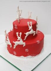 Christmas Red Sleigh Reindeer Rudolf Snowflake Snow Cake (back) b