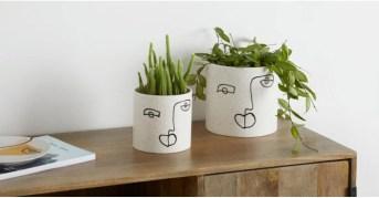 decoration-atelier-artiste-style-art-abstrait-12-cache-pot-dessin-visage-peint-a-la-main-made
